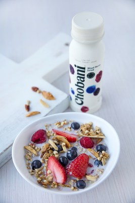 The Mixed Berry Breakfast Bowl is served with Chobani® Mixed Berry Greek yogurt drink.