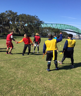 Wounded warriors invited students from Episcopal School in Jacksonville, Florida to join them in a friendly game of flag football for camaraderie and exercise.