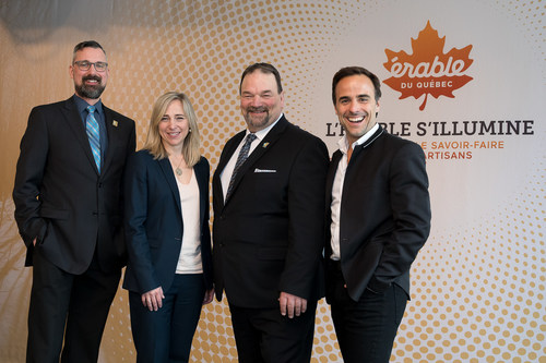 Simon Trépanier, FPAQ Executive Director; Nathalie Langlois, FPAQ Director of Promotion, Innovation and Market Development; Serge Beaulieu, FPAQ President and Sébastien Benoît, event host. (CNW Group/Federation of Quebec Maple Syrup Producers)