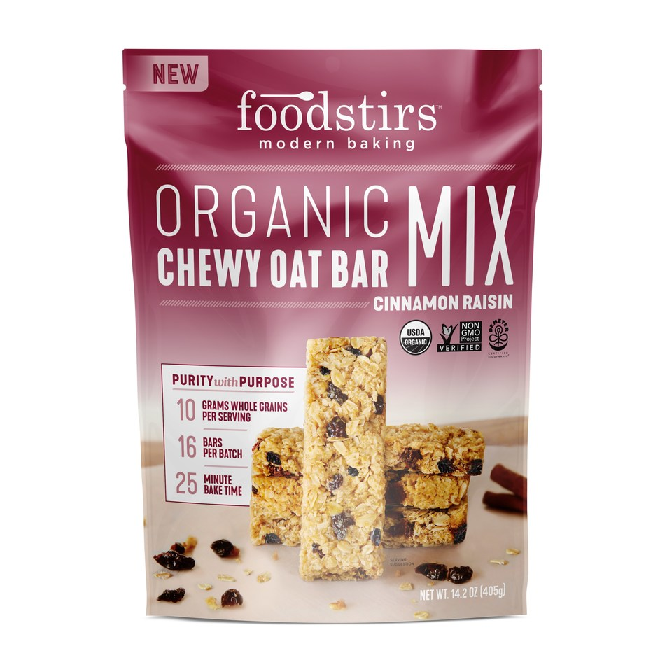 """With Foodstirs' new Organic Chewy Granola Oat Bar Baking Mix line, which will be exclusive to Whole Foods Market nationally beginning April 2018, simply add water and oil to the mix and you are ready to bake 16 bars in 25 minutes that deliver 10g of Whole Grains per serving and amazing """"from scratch taste."""" The 14.7-oz. packages of dry mix come in Very Berry Chocolate Chip, Cinnamon Raisin and Chocolate Coconut flavors and retail for $4.99-$5.99 per bag."""