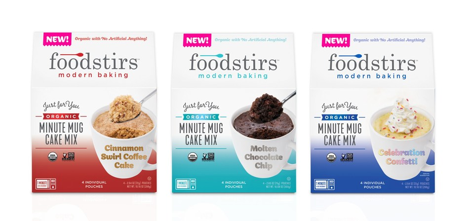 Foodstirs Organic Minute Mug Cakes, which will be featured in 8,000 Starbucks stores nationwide, are portable snacks that consumers can make at home – or anywhere – by simply adding water and microwaving for one minute. The cakes, made from heirloom, identity-preserved organic flour, Biodynamic® sugar and fair trade chocolate, are available in Molten Chocolate Chip, Celebration Confetti and Cinnamon Swirl Coffee Cake flavors in single pouches and a 4-pack that retails for $4.99 - $5.99.