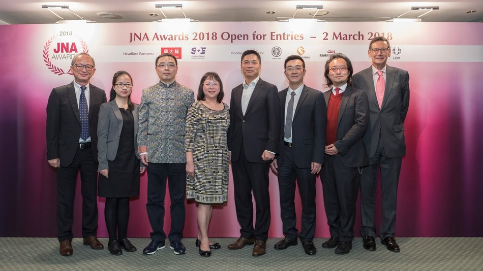 Partners and judges at the JNA Awards 2018 Open for Entries Presentation. (From left) Albert Cheng; Sophie Li, Guangdong Gems & Jade Exchange; Yan Nanhai, Shanghai Diamond Exchange; Letitia Chow, UBM Asia; Bobby Liu, Chow Tai Fook Jewellery Group Ltd; Liu Zheng, Guangdong Land Holdings Limited; Mark Lee; and James Courage