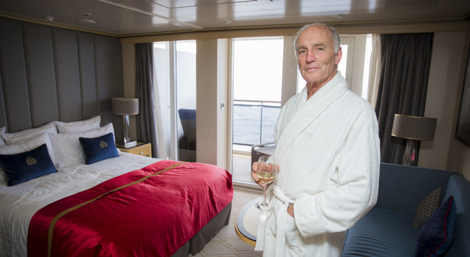 Mervyn Wheatley in grills stateroom after rescue by captain and crew of Queen Mary 2