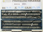 Figure 1 – High grade margin zone mineralization from hole SDG18-044 in Bx 1. The six metre interval from 70.0-76.0 averages 2.76% Cu, 8.33 g/t Au, and 19.6 g/t Ag. (CNW Group/Chakana Copper Corp)