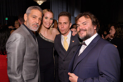 """CENTURY CITY, CA - MARCH 03: (L-R) George Clooney, Leslie Bibb, Sam Rockwell, and Jack Black attend  MPTF's """"The Night Before"""" The Oscars at Fox Studio Lot on March 3, 2018 in Century City, California.  (Photo by George Pimentel/Getty Images for MPTF)"""