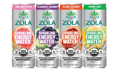 NEW! Zola Launching Organic Sparkling Energy Waters