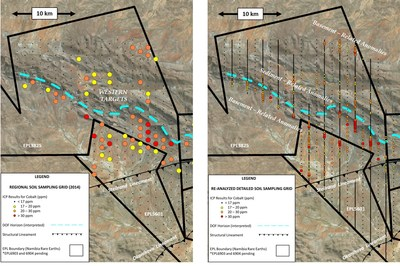 Figure 2 – Comparison of cobalt ICP soil anomalies from regional grid sampled in 2014 (left) and from detailed grid reported March 5, 2018 (right). Regional sample lines are 1 km apart with sample spacing of 1 km. Detailed grid sample lines are 1 km apart with alternating sample spacing of 500 m and 100 m along sample lines. (CNW Group/Namibia Rare Earths Inc.)
