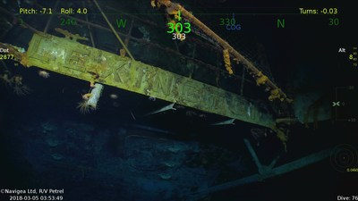 Wreckage from the USS Lexington (CV-2) Located in the Coral Sea 76 Years after the Aircraft Carrier was Sunk During World War II.