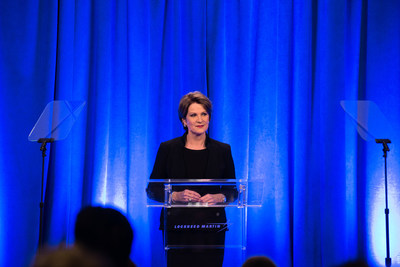 Lockheed Martin's Chairman, President and CEO Marillyn Hewson addresses reporters at the company's annual Media Day.