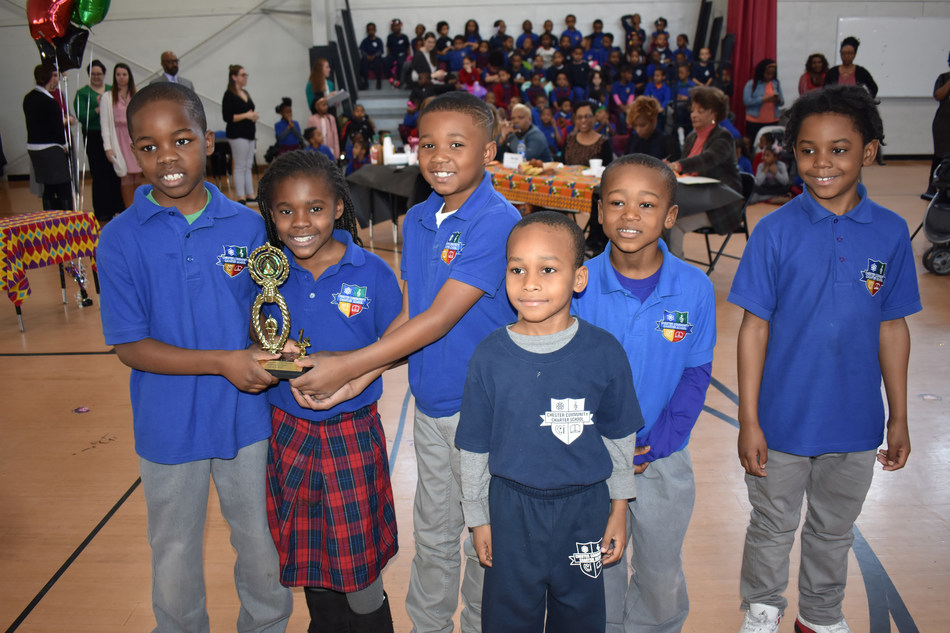 "Pictured here are first-place Oratorical Contest winners from Ms. Osborne's first-grade class, at Chester Community Charter School. They recited "" Harriet Tubman,"" by Eloise Greenfield."