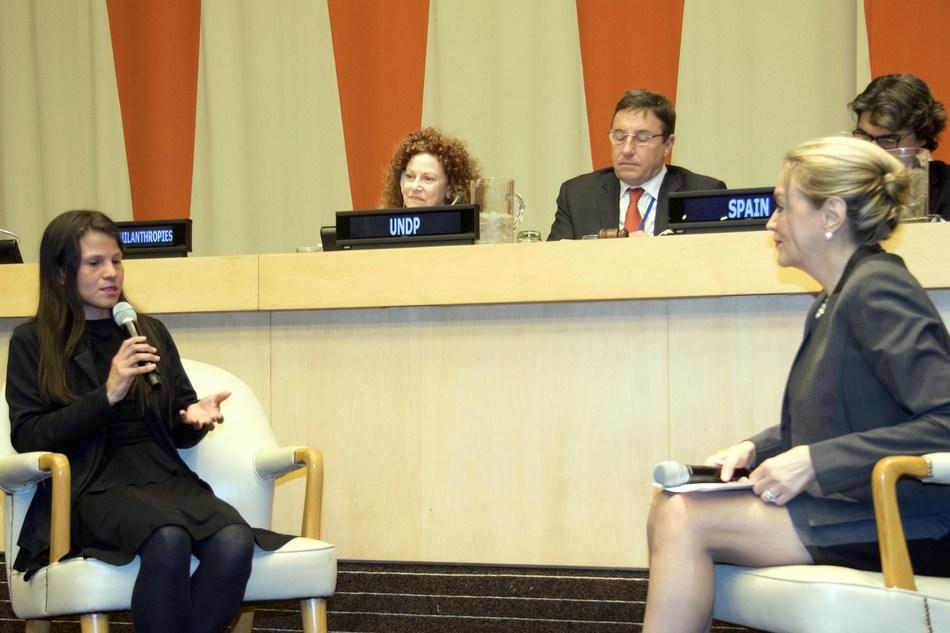 Colombian entrepreneur Jessica Hernandez, left, with María Emma Mejía, Permanent Representative of Colombia to the UN