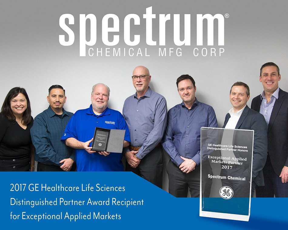Spectrum Chemical receives 2017 GE Healthcare Life Sciences Distinguished Partner Award for Exceptional Applied Markets.
