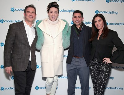 CoolSculpting by Allergan hosted CoolSculpting on Ice at Rockefeller Center in New York City on Monday, March 5 with figure skating superstar Johnny Weir, Dr. David Rapaport, and Mike Jafar, Allergan Vice President of Medical Aesthetics Body Contouring, and Fran DeSena, Allergan Vice President, US PR and R&D Communications to discuss the non-invasive fat-reduction treatments science experience and results. (Photo by Cindy Ord/Getty Images for CoolSculpting)