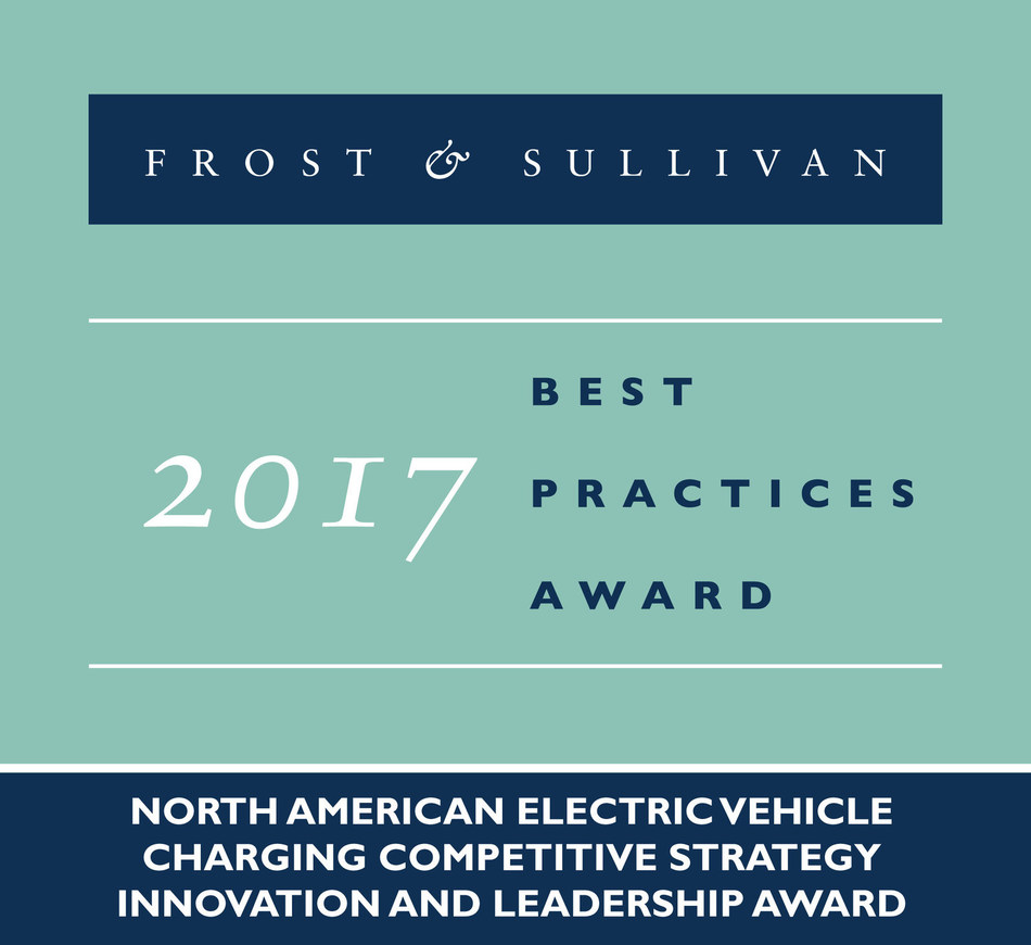 2017 North American Electric Vehicle Charging Competitive Strategy Innovation and Leadership Award (PRNewsfoto/Frost & Sullivan)
