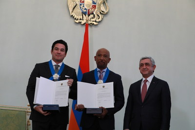(l to r) Dean Cain, Montel Williams and President Serzh Sargsyan – Photo courtesy of Architects of Denial, LLC