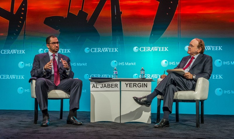 H.E. Dr. Sultan Ahmed Al Jaber (left), UAE Minister of State and ADNOC Group CEO, discusses ADNOC's strategic move downstream with IHS Markit Vice Chairman Daniel Yergin (right) at CERAWeek in Houston, Texas. (PRNewsfoto/ADNOC)