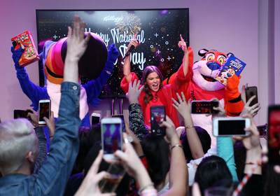 Hailee Steinfeld celebrates #NationalCerealDay with cereal's biggest fans at Kellogg's NYC Café. Credit: Sara Jaye Weiss
