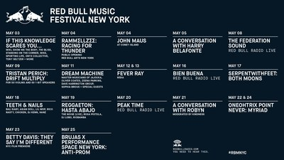 Red Bull Music Festival New York 2018 Calendar