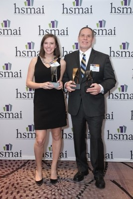 Daniel Durazo, Director of Communications for Allianz Global Assistance USA (right) and Jen Dakin, Account Supervisor at Finn Partners, accept three awards at the Hospitality Sales & Marketing Association International Adrian Awards Gala in New York on February 20, 2018.