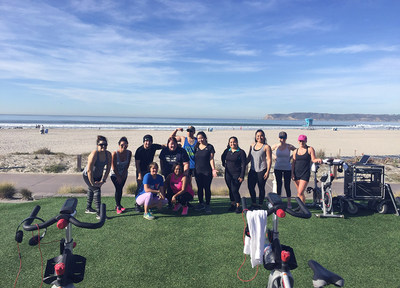 Warriors cool down after an active spinning class on the beach, during a recent Wounded Warrior Project connection event in Coronado, California.