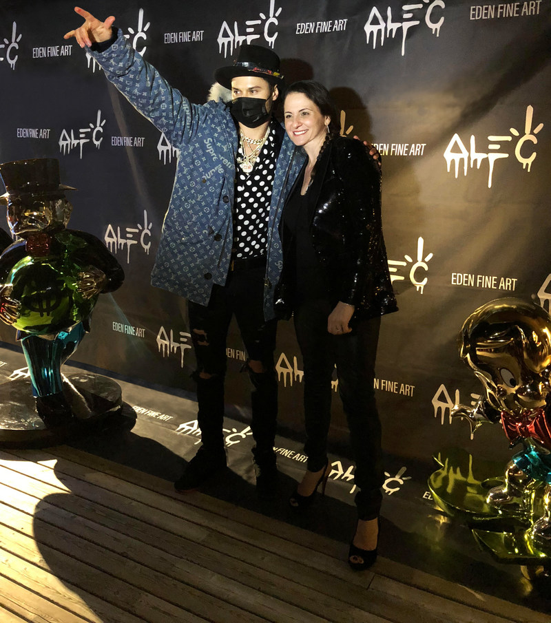 Artist Alec Monopoly and Eden Fine Art Owner Cathia Klimovsky