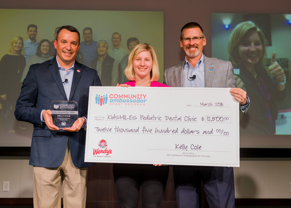 Wendy's Community Ambassador of the Year, Kelly Cole (middle), with Chief People Officer Coley O'Brien (left) and President and CEO Todd Penegor (right).