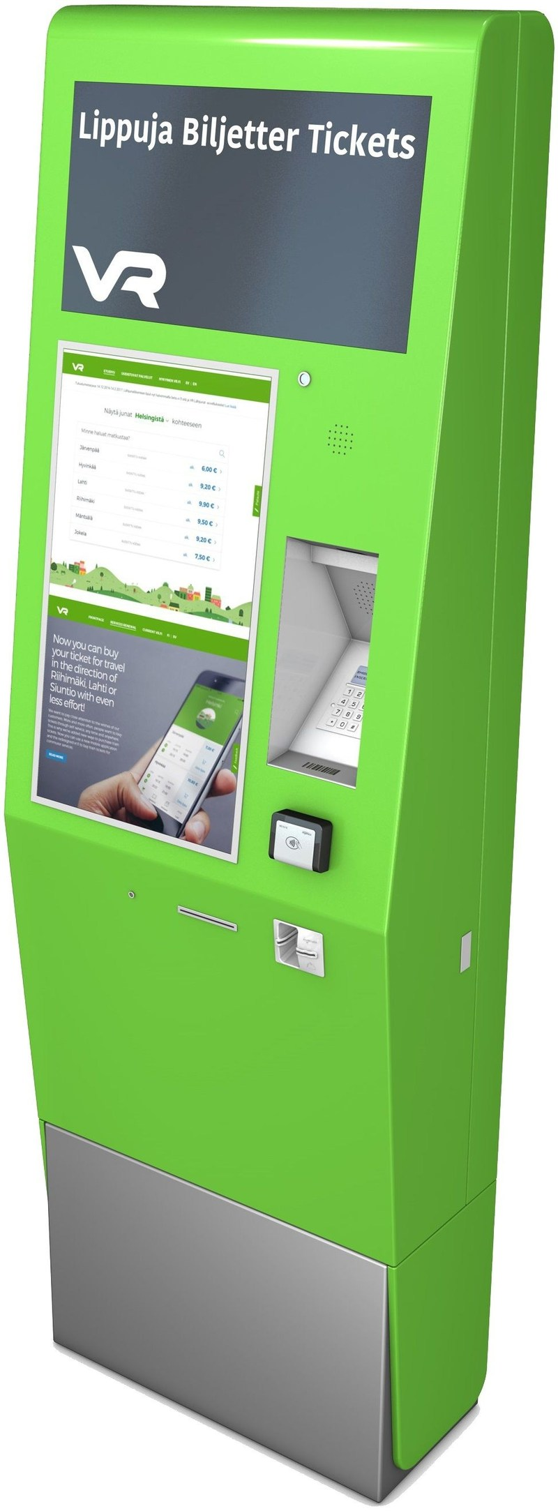 Finland's railway network, VR Group, upgrades its ticketing infrastructure with 130 Conduent Expert 6000 Ticket Vending Machines. (PRNewsfoto/Conduent)