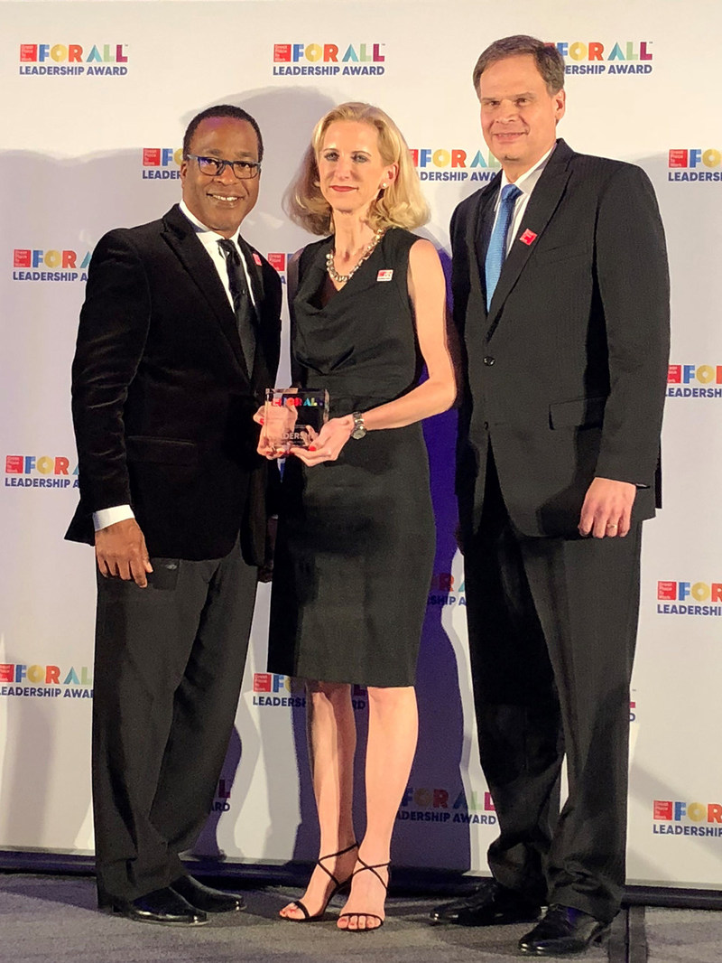 (L-R) Michael C. Bush, CEO at Great Place To Work®; Stephanie Linnartz, Executive Vice President & Global Chief Commercial Officer, Marriott International; David Rodriguez, Executive Vice President & Global Chief Human Resources Officer, Marriott International