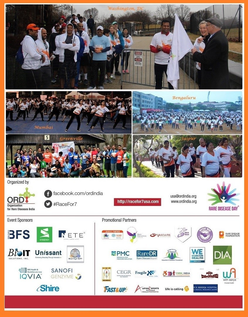 Racefor7 a 7Km rare diseases awareness walk / run Last sunday of February. This time expanded as a global chain across 5 cities in India and United States.