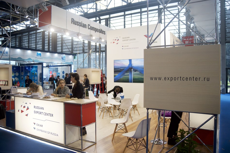 Work of the joint stand of Russian manufacturers at the JEC World exhibition in Paris (PRNewsfoto/Russian Export Center)