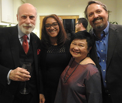Vint Cerf (left) and Mei Lin Fung with two members of PCI Impact Network at a private fundraiser for one of  PCI's new initiatives; Project Coqui which is dedicated to building capacity and community in Puerto Rico. 3/6/18 Photographer Bill Daul