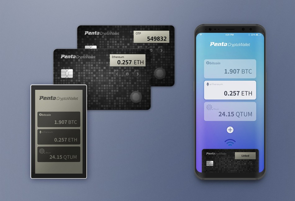 The new cryptocurrency wallet focuses on key management for enhanced security. It will be available in two form factors: card and device. (PRNewsfoto/Penta Security Systems Inc.)