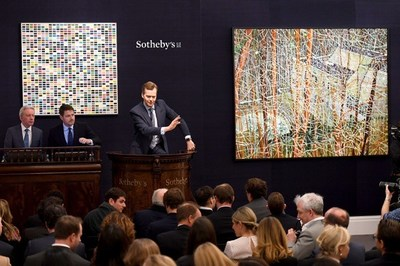 Oliver Barker, Chairman of Sotheby's Europe presides over the Evening sale of Contemporary art in London on 7 March 2018 that totaled $151.7 million with a 95% sell-through rate, contributing to a two week total of $430 million for the Company.