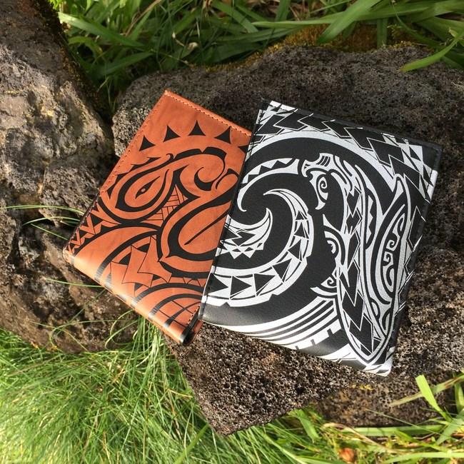 NA KOA mens wallets with authentic Polynesian tattoo art by Maui artists Kuaika Quenga and Hano Fernandez
