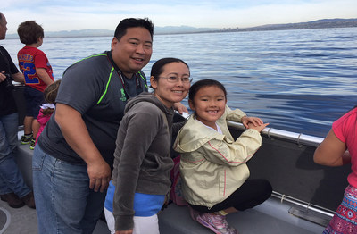 A wounded warrior and his family enjoy the excitement of whale watching off the coast of California during a recent Wounded Warrior Project event.