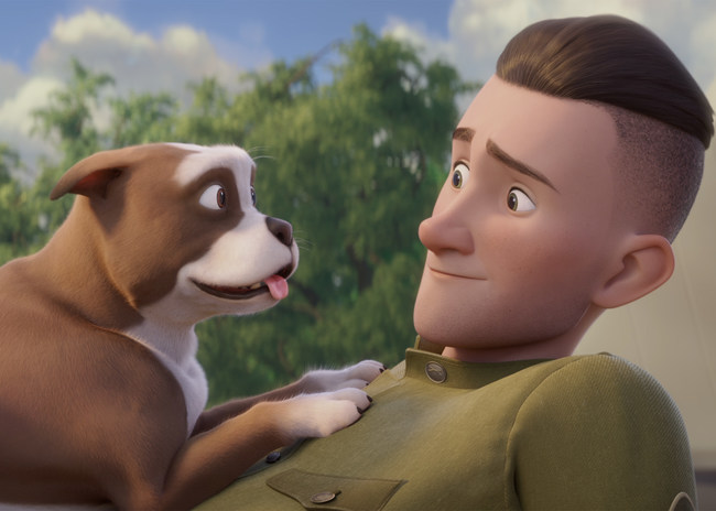 """In Sgt. Stubby: An American Hero, opening in theaters nationwide on April 13, Army """"doughboy"""" Robert Conroy's (voiced by Logan Lerman) life is forever changed when a little stray dog with a stubby tail wanders into a training camp in New Haven, Conn. Conroy gives his new friend a meal, a name, a family and the chance to embark on an adventure that would define a century. Photo credit: Fun Academy Studios"""