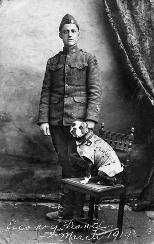 The real Sgt. Stubby and Private First Class Robert Conroy, who took in the stray off the streets of New Haven, Conn. in 1917. Sgt. Stubby is still recognized today as the first dog promoted to the rank of Sergeant in the U.S. Army; the most decorated dog in American history; and is widely considered the forerunner to the U.S. Army's working dog program. Photo courtesy of the Division of Military History, National Museum of American History, Smithsonian Institution.