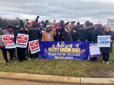 The American Federation of Government Employees stands in solidarity with Communications Workers of America workers in West Virginia and Ashburn, Va., who have gone on strike at Frontier Communications. Photo by CWA.