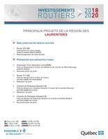 Investissements routiers 2018-2020 - Principaux projets de la région des Laurentides (Groupe CNW/Cabinet du ministre des Transports, de la Mobilité durable et de l'Électrification des transports)