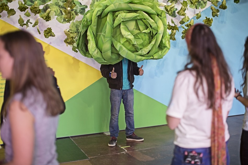 SXSW visitors put themselves right at the center of modern agriculture - from a dairy to a vertical farm to an algae farm - as seen from inside a giant head of lettuce. The Food Effect, an experience by Land O'Lakes, Inc., is open to the public March 9 through 12 and is located near the Austin Convention Center. (Photo courtesy of Land O'Lakes, Inc.)