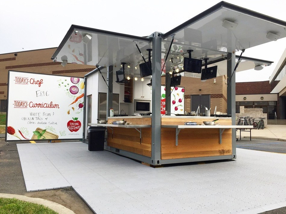 Elly, Chartwells K12's Mobile Teaching Kitchen, unboxed and ready for students to learn about food, cooking skills and sustainable choices.