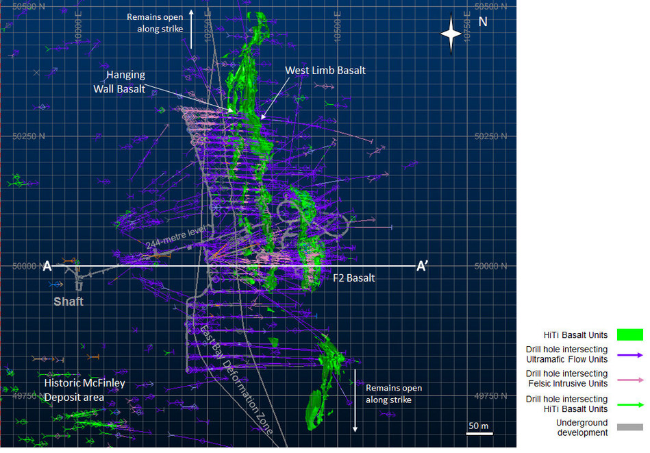 Diagram 1: Preliminary Structural Interpretation (2018) of the F2 Gold Deposit – Plan View of the 244-metre level (CNW Group/Rubicon Minerals Corporation)