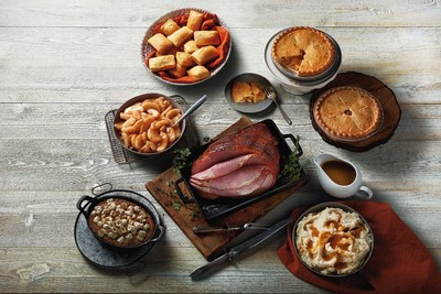 For $109.99, a Boston Market Heat & Serve Ham Dinner for 12 includes a spiral-sliced or boneless ham, mashed potatoes and gravy, cinnamon apples, sweet potato casserole, fresh-baked cornbread and two apple pies.