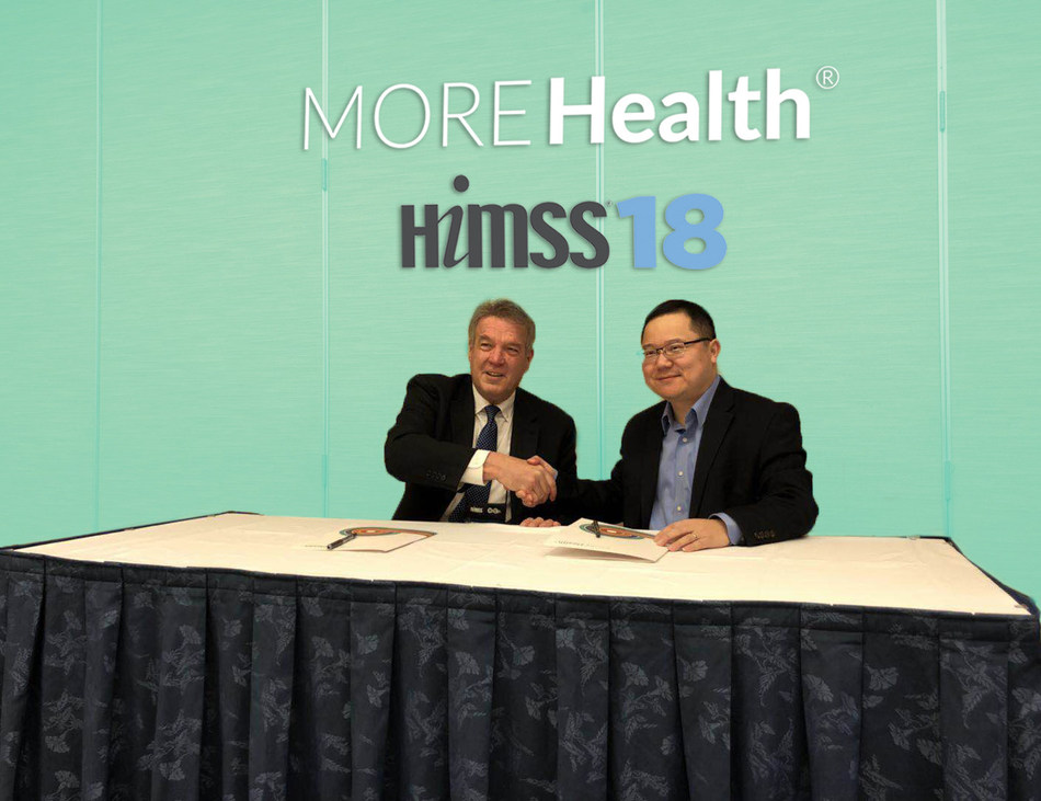 Ted Bukowski, SVP of Provider Partnerships at MORE Health, and Dr. Hua Xu, CEO of Melax Technologies signing the agreement.