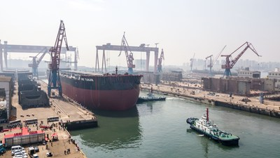 The world's first 2nd-generation 400,000-dwt ore carrier, built by Wuchang Shipbuilding Industry Group Co., Ltd., while docked at its berth in Qingdao West Coast New Area on 19th September 2017