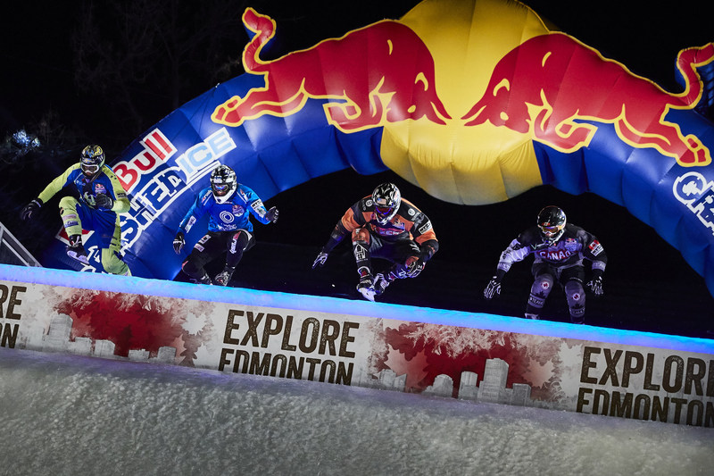 Cameron Naasz of the United States, Derrek Coccimiglio of Canada, Antti Tolvanen of Finland and Richard Van Wijhe of Sweden compete during the finals at the tenth and final stage of the ATSX Ice Cross Downhill World Championship at the Red Bull Crashed Ice in Edmonton, Canada on March 10, 2018. Photo credit: Andreas Langreiter / Red Bull Content Pool (CNW Group/Red Bull Canada)