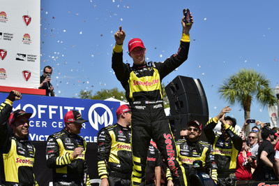 Sebastien Bourdais scored a second consecutive victory Sunday at the Firestone Grand Prix of St. Petersburg, opening round of the 2018 Verizon IndyCar Series.