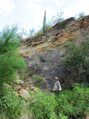 Lithium-bearing layer at the Nogalito lithium property. (CNW Group/Rock Tech Lithium Inc.)