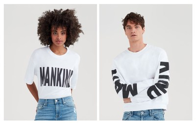 Makind Baby Tee With Black Flocking In White, $70.00 | Mankind Puff Print Crewneck In White. $140.00