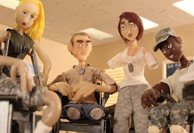 """G.I. Hospital"" (6 awards in 35 festivals) uses stop-motion animation to tell the story of 6 wounded soldiers who don't mind missing a few limbs because after all, it was ""for our country."""